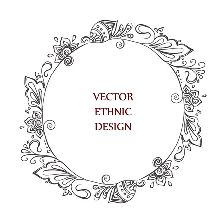 round tattoo henna frame. Isolated pattern for design on white background.