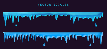 Vector winter blue icicles. Stock isolated set for design