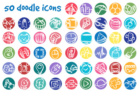 Vector round doodle icons set. Stock cartoon signs for design.