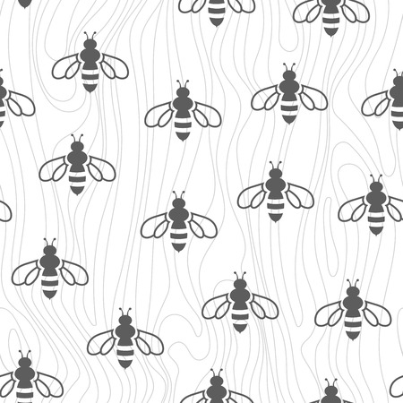 Doodle Seamless Pattern - Swarm Of Bees. Vector Background For ...