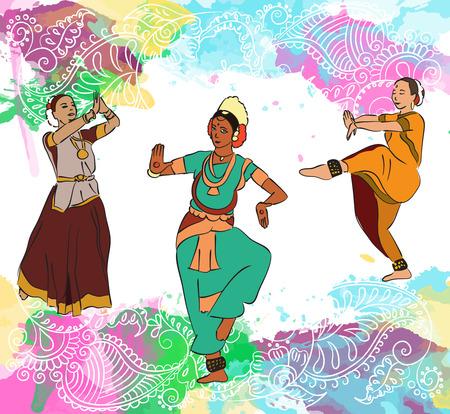 Indian dancers colorful set illustration.