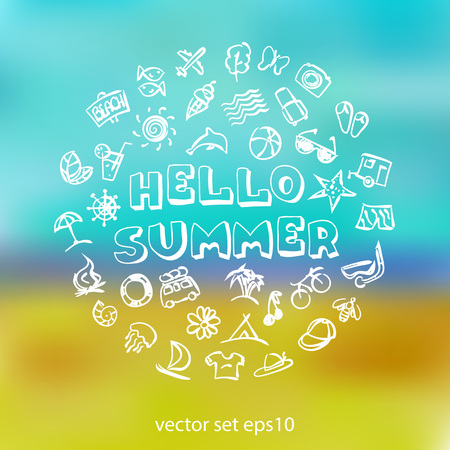 lifeline: Vector doodle summer icons set. Stock cartoon signs for design.
