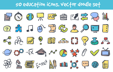 Vector doodle education icons set. Stock cartoon signs for design. Illustration