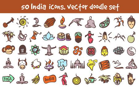 Cartoon signs doodle India icons set. Illustration