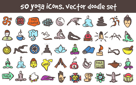 Vector doodle yoga icons set. Stock cartoon signs for design.