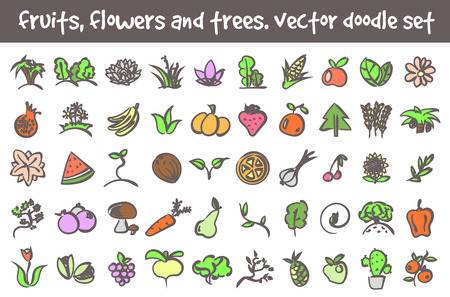 ear bud: Vector doodle fruits, flowers and trees icons set. Stock cartoon signs for design. Illustration