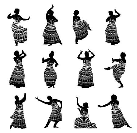 actress: Isolated black silhouettes of indian dancers in mehndi style. Vector stock illustration for design on white background