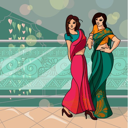 wedding couple: Indian fashion set. Vector stock illustration for design on white background