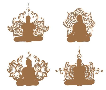 yogi: Meditation silhouette with lotus patterns in henna tattoo.