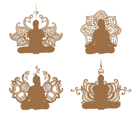 Meditation silhouette with lotus patterns in henna tattoo.