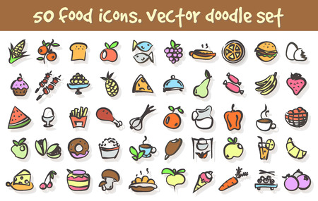 Set of food doodle icons.