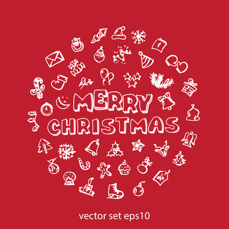 Set of christmas doodle icons in red background. Illustration