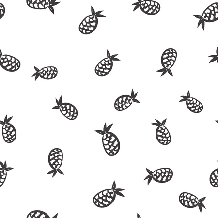 Doodle seamless pineapple pattern. Vector background for design