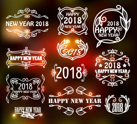 Vector set of vintage neon frames for happy new year