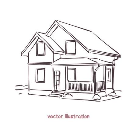 Boceto de la casa de madera. Ilustración aislada del vector para el diseño en el fondo blanco Foto de archivo - 91104674