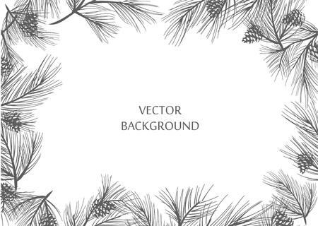 Vector frame - sprigs of pine for design