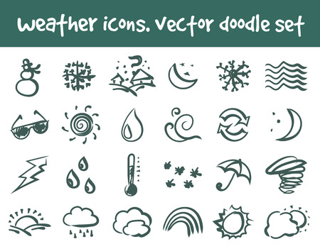 vector doodle weather icons set