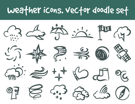 Vector doodle weather icons set. Stock cartoon signs for design.