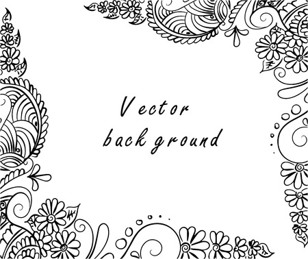 Vector abstract ethnic background with henna patterns. Stock mehndi illustration for design