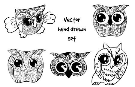 tattoo henna owl set Vector illustration. Ilustração