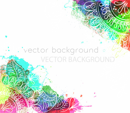 Vector abstract ethnic background with henna patterns. Stock watercolor illustration for design