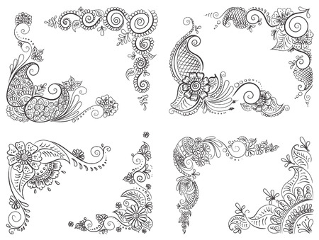Vector abstract ethnic set with henna patterns