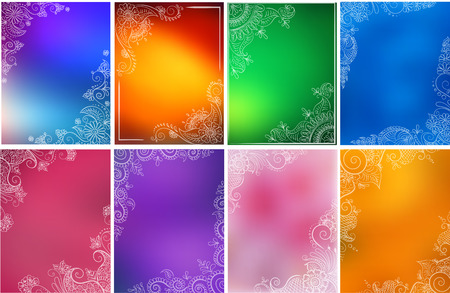 Vector set of abstract ethnic background with henna patterns