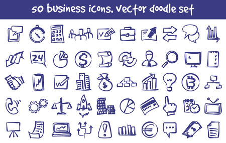 Vector doodle business icons set. Stock cartoon signs for design.