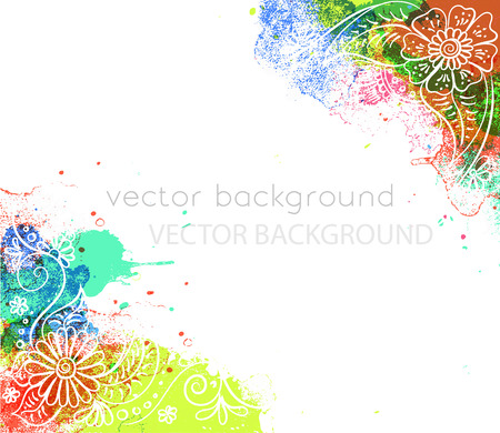 Vector abstract ethnic design with henna patterns