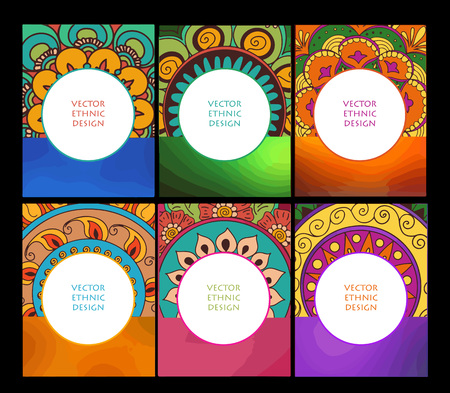 Vector set of abstract ethnic background with henna patterns. Business cards template for design