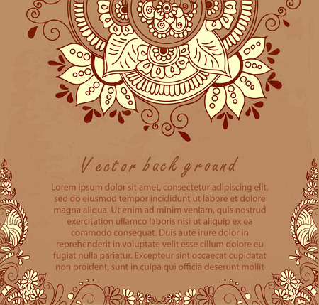 Vector abstract ethnic background with henna patterns. Stock illustration for design