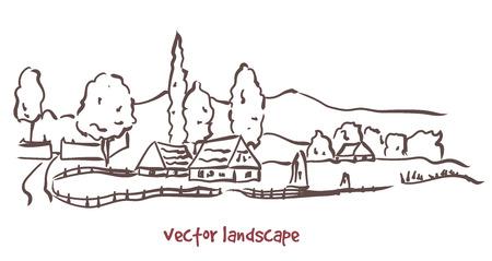 Vector contour sketch of rural landscape. Stock handwritten illustration for design. Ilustração