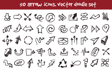 Vector doodle arrow icons set. Stock cartoon signs for design.