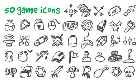 Vector doodle game icons set. Stock cartoon signs for design. Illustration