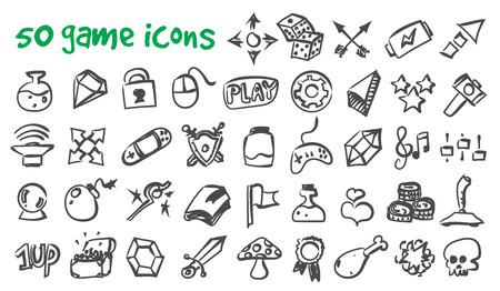 Vector doodle game icons set. Stock cartoon signs for design. Ilustração