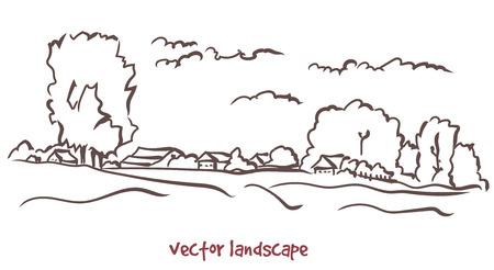 Handwritten sketch of rural landscape