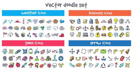 un ensemble d & # 39 ; icônes vectorielles doodle
