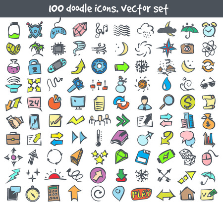 Vector doodle icons set like search, arrows and moon. Stock cartoon signs for design.