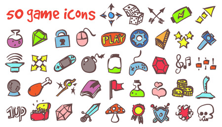 A vector doodle game icons set