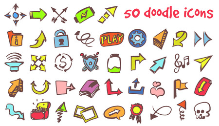 Vector doodle icons set such as arrows, flag and shield. Stock cartoon signs for design.