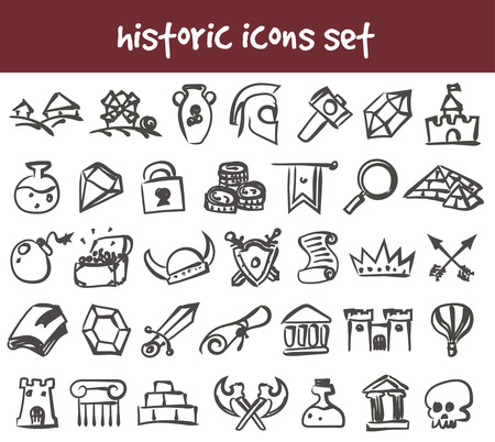Vector doodle historic icons set. Stock cartoon signs for design.