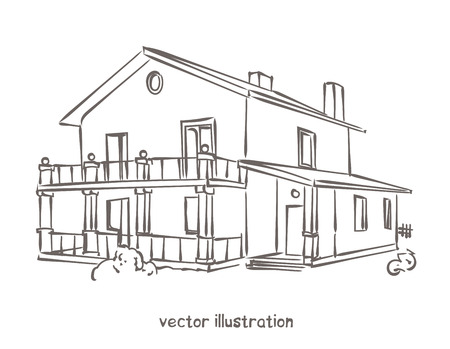 Sketch of wooden house. Vector isolated illustration for design on white background