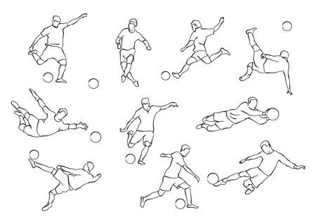 Vector set of football players. Stock handwritten illustration for design. Ilustração