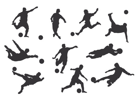 Vector set of football players silhouettes. Stock handwritten illustration for design.