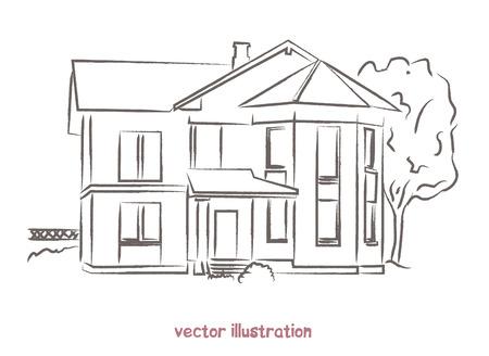 vector sketch of wooden house