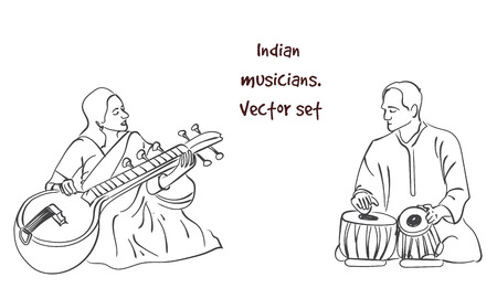 Vector silhouette of indian musician