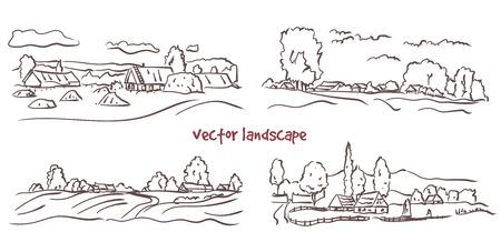 handwritten sketch set of rural landscape