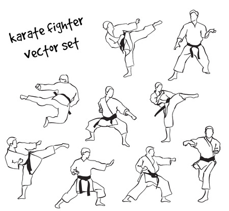 Vector set of karate fighter silhouettes. Stock handwritten illustration for design.