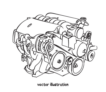 Sketch of car engine. Vector isolated illustration for design on white background