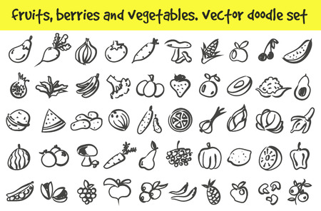 doodle fruits, berries and vegetables icons set. Stock cartoon signs for design.